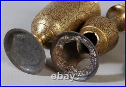 18/19th FINELY ANTIQUE ISLAMIC ARABIC CUP CANDLESTICK GOLD DAMASCENED STEEL