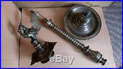 18# Old Rare Antique Beautiful Islamic / Oriental / Asian Large Bronze Oil Lamp