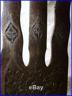 1800's ANTIQUE PERSIAN GOLD + SILVER KOFTGARI ISLAMIC SPEAR TRIDENT LANCE SWORD