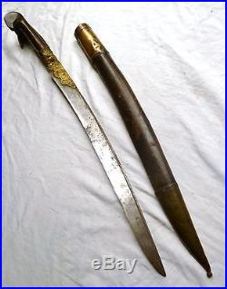 1800's YATAGAN OTTOMAN-TURKISH-BALKANS SWORD islamic Yataghan saber Silver