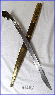 1800s YATAGAN SWORD OTTOMAN TURKISH ISLAMIC SILVER NIELLO RUSSIAN SABRE SHAMSHIR
