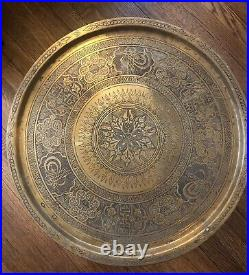 18D Brass Carved Wood Folding Tray Tea Table Turkey Turkish Morocco Hanging