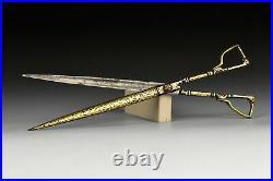 18th Century Ottoman Empire Islamic Calligraphy Scissors Diamonds, Rubies & Gold