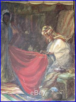 1906 ANTIQUE painting Charles Sieber Oregon MIDDLE EASTERN MARKET orientalist