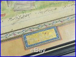19th ANTIQUE QAJAR MINIATURE PAINTING PERSIAN SHAH KING GOLD ILLUMINATED
