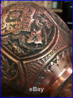 19th C. ANTIQUE ENGRAVED PERSIAN COPPER VASE EMBOSSED FLOWERS & BIRDS 10 TALL