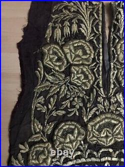 19th C ANTIQUE OTTOMAN TURKISH GOLD METALLIC HAND EMBROIDERED PANEL 127cm