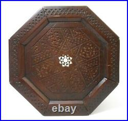 19th C Antique Syrian Hand Carved Octagonal Wood Tea Table/mother Of Pearl Inlay