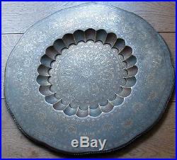 19th. C. Brass Islamic Indo Persian Zani Art tray table fine engraved enamelled