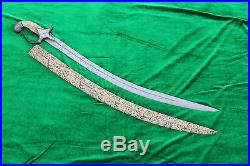 19th. C IndoPersian Mughal Rajput Shamshir Sword Tulwar Tegha bone handle