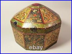 19th C Large Paper Mâché Turban Box-Persian/Mughal/Qajar/Islamic/Indian/Turkish