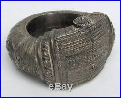 19th CENTURY INDIA SILVER ANTIQUE LARGE HEAVY ORNATE TRIBAL BRACELET ANKLET