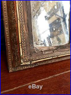 19th Century Intricate Mosaic Frame Distressed Middle Eastern Mirror