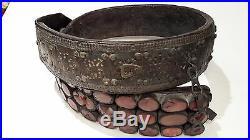 19th Century Turkish Ottoman Arnauten Warrior Belt Leather Carnelian Brass