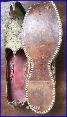 19thC Persian Turkish Ottoman Empire Embroidered Slippers Shoes Antique Moroccan