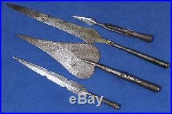 2 antique Islamic Tuareg spearheads + 2 Congolese spearheads 19th early 20th