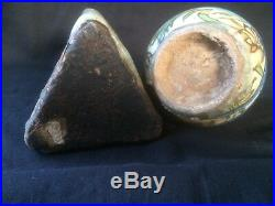 2middle Eastern Triangular Qajar Antique Persian Polychrome Pottery Bottle Flask