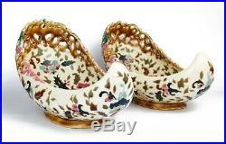 2x 19th Century ZSOLNAY PECS PORCELAIN SLIPPER SHAPE BOWLS Islamic Market