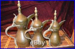 3 Antique Vintage Middle East COFFEE POT SAUDI Islamic Turkish Arab DALLAH