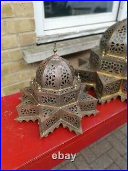 3 Moroccan Bronze Lamps Glass Inlaid