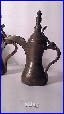4 VTG ANTIQUE BRASS Copper ISLAMIC DALLAH ARABIC COFFEE POT MIDDLE EASTERN