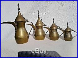 4 Vintage Engraved Brass Dallah Middle Eastern Arabic Coffee Pots
