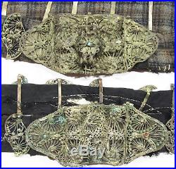 4 antique silver filigree belts Ottoman Middle Eastern tribal art ethnic costume