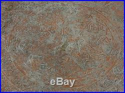 52.4 inch huge Antique orient Islamic ottoman Hammer Engraved copper table Tray