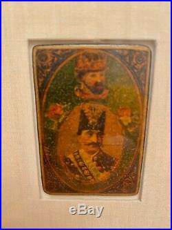 (6) 19th Polychrome As-Nas Persian Playing Cards. Two Portrait Of Qajar Kings