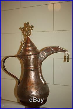 72 cm BIG Original Antique Dallah Coffee Pot Middle East Bedouin RedCopper Tin