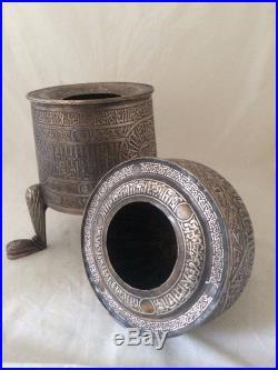 A LARGE ISLAMIC CAIROWARE SILVER INLAID MUMLUK REVIVAL INCENCE BURNER 4.8 kg