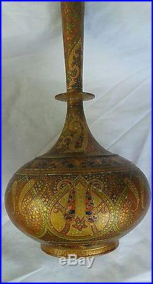 A Pair 19th Century Orientalist Islamic Papier Mache Bottles With LID