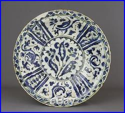 A Persian Safavid Blue and White Pottery Fritware Dish, 17th century
