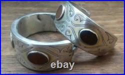 A pair of antique Turkmen Turkoman silver bracelets bilezik tekke 19th