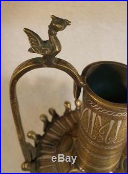 ANCIENT LARGE BRONZE with SILVER & COPPER Inlay PITCHER Seljuk Style Khurasan