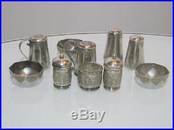 Antique 10 Piece Persian Silver Condiment Set