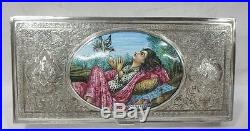 ANTIQUE 19TH CENTURY PERSIAN SILVER AND HAND PAINTED ENAMEL WOMAN Engraved BOX