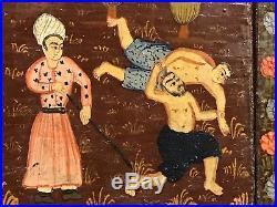 ANTIQUE 19th Cent PERSIAN QAJAR ISLAMIC WOOD PANEL MIRROR WRESTLING SPORTS SCENE