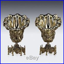 ANTIQUE 19thC OTTOMAN EMPIRE SOLID SILVER GILT SPOON HOLDERS c. 1880