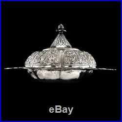 ANTIQUE 19thC OTTOMAN EMPIRE SOLID SILVER LIDDED DISH c. 1890