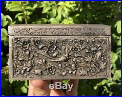 ANTIQUE 19thC PERSIAN MIDDLE EASTERN SOLID SILVER REPOUSSE BIRDS FLOWER BOX CASE