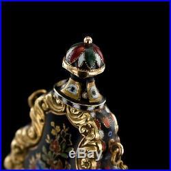 ANTIQUE 19thC RARE SWISS 18K GOLD & ENAMEL SCENT BOTTLE, BAUTTE & MOYNIER c. 1830