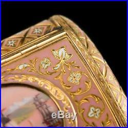 ANTIQUE 19thC SWISS 18K GOLD & ENAMEL SNUFF BOX, BAUTTE & MOYNIER, GENEVA c. 1810