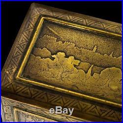 ANTIQUE 20thC JERUSALEM ENGRAVED BRASS BOX, BETSALO SCHOOL c. 1920