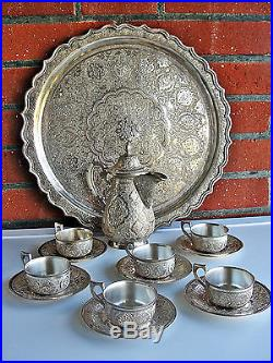 ANTIQUE 20thC PERSIAN ISLAMIC SOLID SILVER EXCEPTIONAL SIGNED COFFEE SET
