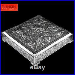 ANTIQUE 20thC PERSIAN SOLID SILVER LARGE REPOUSSE BOX, ISFAHAN c. 1900