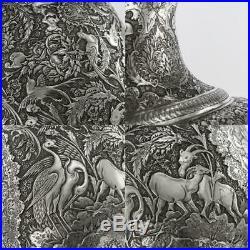 ANTIQUE 20thC PERSIAN SOLID SILVER MASSIVE VASE, MUHAMMAD TAQI c. 1900