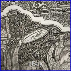 ANTIQUE 20thC PERSIAN SOLID SILVER MASSIVE WALL PLAQUE / TRAY, VAFADAR c. 1930
