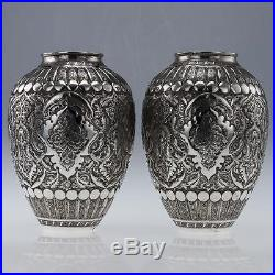 ANTIQUE 20thC PERSIAN SOLID SILVER REPOUSSE PAIR OF VASES, ISFAHAN c. 1910