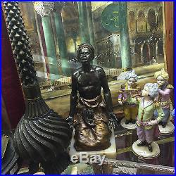 Antique Austrian Cold Painted Metal Orientalist Arab Warrior At Praying